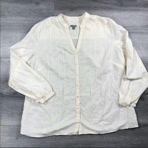 J Jill Blouse Top Button Up XL Linen Career Ivory